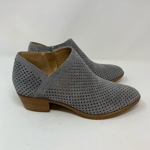 Lucky Brand Gray Baykal Perforated Ankle Boots, 8